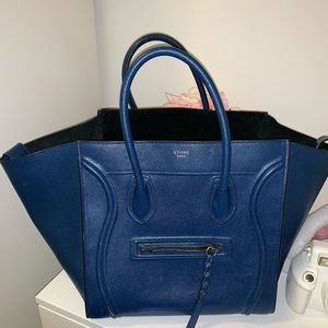 AUTHENTIC CELINE Blue Leather Medium Phantom bag